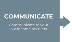 Communicate. Communicate to your low-income tax filers