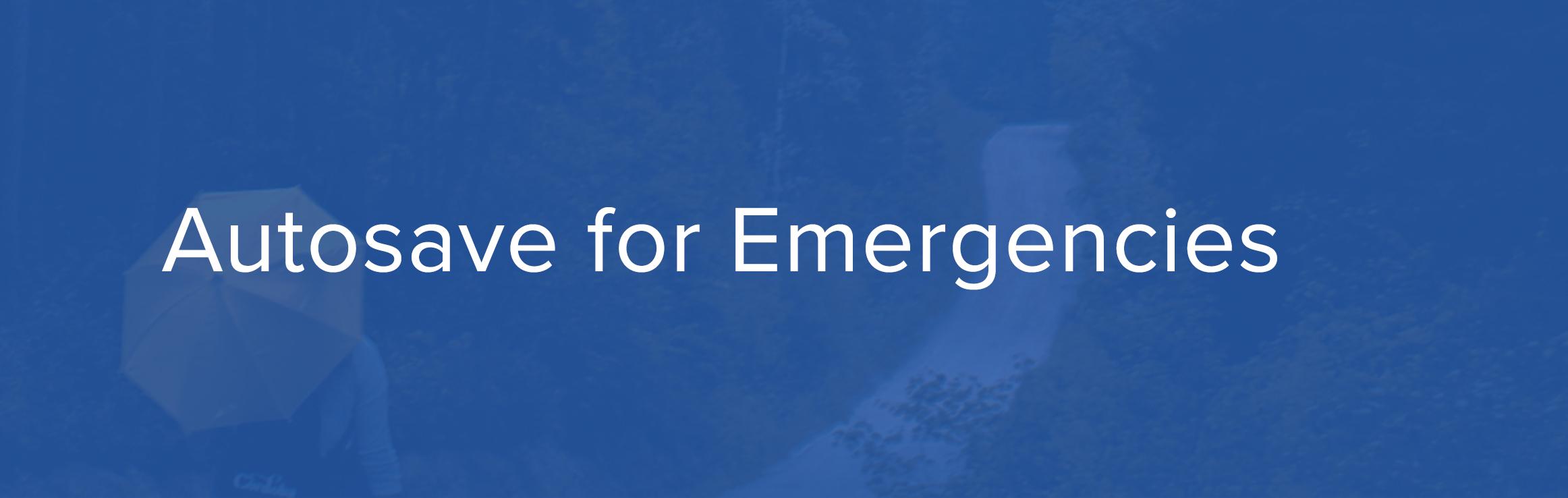 autosave for emergencies